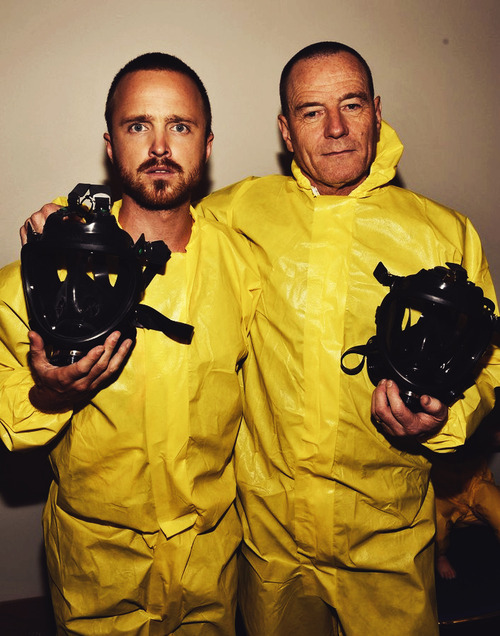 Aaron Paul and Bryan Cranston in Yellow Hazmat suits