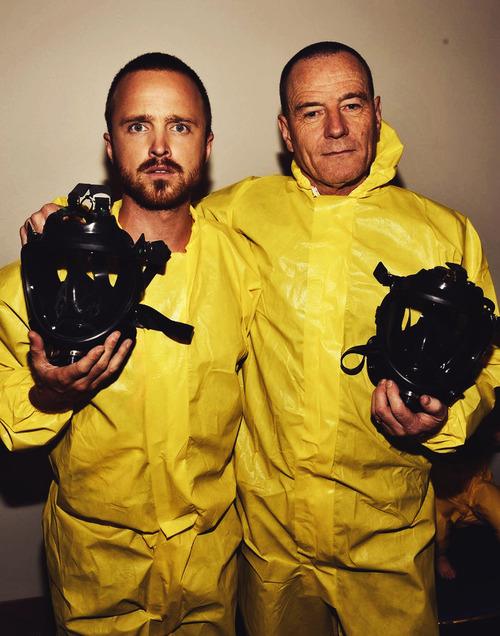 Aaron Paul and Bryan Cranston in Yellow Hazmat suits