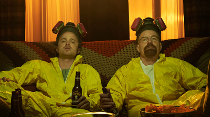 Walter White & Jesse Pinkman relaxing in hazmat suits