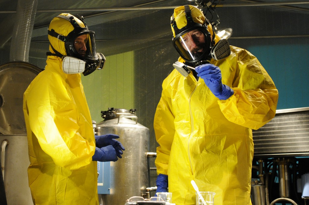 Walter White and Jesse Pinkman in Yellow Meth Cook Suits