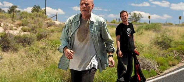 Jesse Pinkman with Walter White on Desert Road